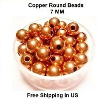 7 MM Copper Round Hollow Beads Hole 2.5 MM (Genuine Solid Copper)