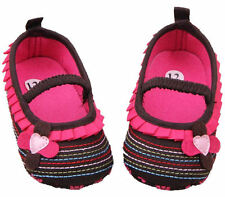 NEW Baby Girl Brown Pink Ruffle Flower Mary Jane Crib Shoes 0-6 6-12 12-18 M