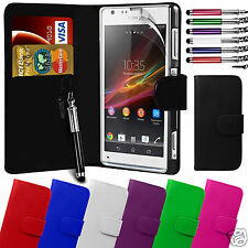 PU Leather Wallet Flip Case Cover & LCD Film & Stylus Pen For Sony Xperia SP