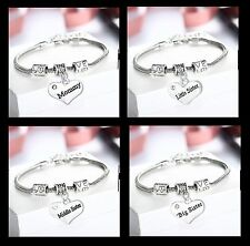 1pc Mother Daughter Little Middle Big Sister Sibling Charm Bracelet Rhinestone