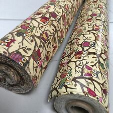 Country Owls Canvas & Matching Patio Oilcloth Vinyl PVC Tablecloth 140cm wide