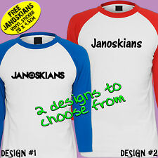 JANOSKIANS T-SHIRT RAGLANS - YOUTUBE - 2 DESIGNS - TEENS, LADIES & MENS SIZES
