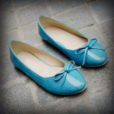 7 Colors Bowknot Womens Patent Leather Ballet Flats Ballerinas Pointed Toe Shoes