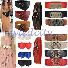 Womens Lady Stretch Buckle Waist Belt Bow Wide Leather Elastic Corset Waistband