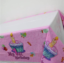 NEW Baby Girls 1st Birthday Party Plastic Tablecloth - 108cms x 180cms