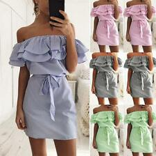 New Summer Women Lady Fashion Off Shoulder Party Cocktail Mini Short Dress