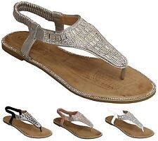 New Womens Diamante Slip On Casual Sling Back Strap Flat Sandals Shoes