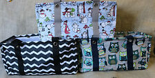 New Thirty-One Medium Utility Tote Laundry Storage Grocery Carry Bag Owl Chevron