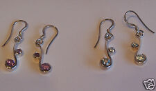 STERLING SILVER DROP EARRINGS AMETHYST OR BLUE TOPAZ GEMSTONES