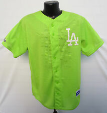 LOS ANGELES DODGERS NEON GREEN STITCHED JERSEY MAJESTIC MLB BASEBALL VINTAGE VTG