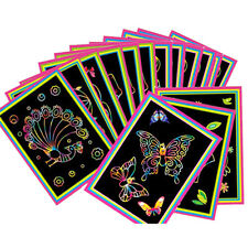 10 Sheet  Colorful Scratch Art Paper Magic Painting Paper with Drawing Stick Set