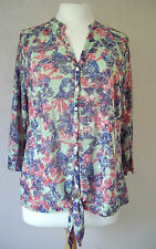 NEW M&S peruna - s: 10 12 14 - pale green/ blue/red pink FLORAL print TOP- BNWoT