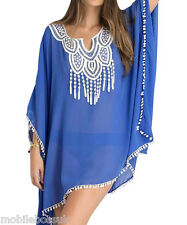 Ladies Beach dress Cover Up Summer wear Swimwear Blue Sexy Bikini Kaftan Sun UK