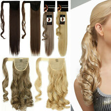 US 100% Thick Wrap Around Ponytail Pony Tail Clip in Hair Extensions Hairpiece H