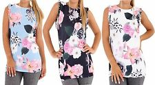 WOMENS RUFFLE SLEEVELESS FLORAL ROSE CREW NECK HIP LENGTH LADIES TOP PLUS SIZE