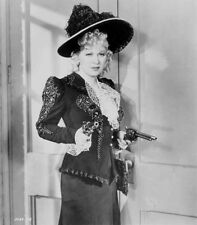 Mae West Holding Tow Pistols in Black and White Dress High Quality Photo