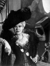 Mae West Leaning in Black Dress with Black Hat High Quality Photo
