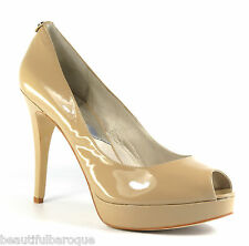 Michael Kors York Platform Nude Patent Leather Open Toe Pump Heels NIB Size 11