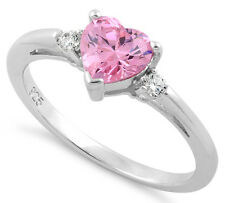 925 Silver Zirconia CZ Heart Solitaire Pink October Birthstone Promise Ring