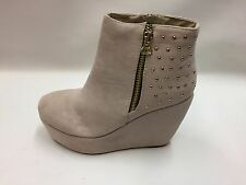 New Boxed Ladies Beige Wedge Heel Platform Ankle Boots with Gold Stud Detail 5-7
