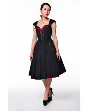 Chicstar Rockabilly 1950's Pin Up Lana Swing Dress Black Red Trim Pockets Retro