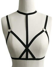 Gothic Goth Fetish Open Cup Cage Bra Star Crossed Choker Harness Black