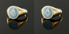 9ct Yellow gold Square and compass Reversible Masonic ring- Light Blue