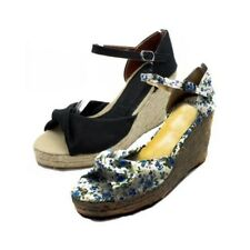 Ladies Canvas Wedge heel sandals with peep toe and ankle strap