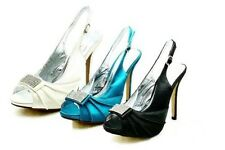 Ladies Satin High heel sling back prom shoes with diamante front