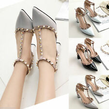 Womens Studded Shoes Pointed Toe Ankle Strappy Pumps High Heels Rivet Sandals