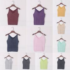 Women Summer Vest Camisole Slim Bruiser Crop Top Glitter Knit Stretch Tank Tops