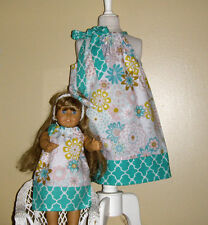 Dolly and me   American girl doll dress  pillowcase dress handmade cotton 100%