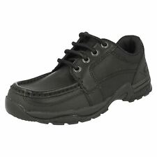 Boys Startrite Rhino Dylan Black Leather Lace Up School Shoes