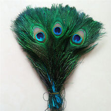 Wholesale 10-100pcs Peacock feathers eye 10-12 inches / 25-30 cm Blue