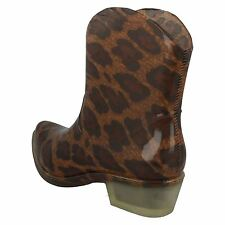 Spot On X1220 Ladies Leopard PVC Pull on Cowboy Style Ankle Wellies Festivals