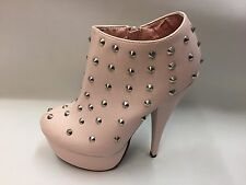 "New Boxed Ladies Sexy Pink Studded Platform Shoes 6"" Heels Select Size UK 3-8"