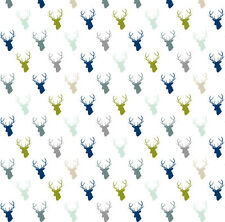 Navy Blue Green Woodland Fabric Printed by Spoonflower BTY