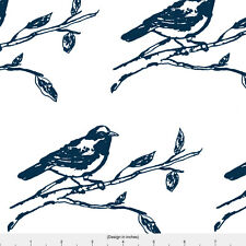 Navy Blue Bird Fabric Printed by Spoonflower BTY