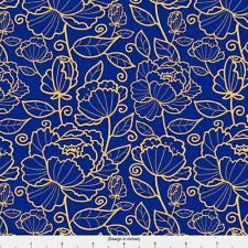 Navy Blue Floral Fabric Printed by Spoonflower BTY
