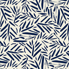 Navy Blue Palm Leaf Fabric Printed by Spoonflower BTY
