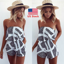 Summer Women Jumpsuit Off Shoulder Striped Romper Casual Mini Playsuits Catsuit