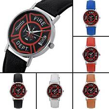 Fire DEPT Theme Vintage Quartz Watch Leather Band Analog Wristwatches Retro Gift