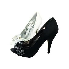 Ladies Satin Peep toe high heel court shoes with diamante bow