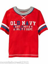 New OLD NAVY Boys Shirt Size 12 18 months TEAM Style Short Sleeve Cotton Tee Red