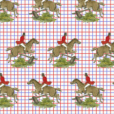 Blue Red Equestrian Horse Plaid Fabric Printed by Spoonflower BTY