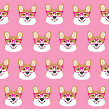 Pink Corgi Fabric Printed by Spoonflower BTY