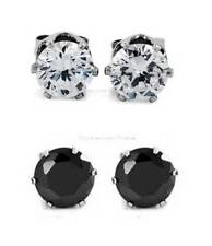 1 PAIR CZ CLEAR or BLACK ROUND MAGNETIC EARRINGS/STUDS for Non-Pierced Ears