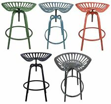 Vintage Style Tractor Seat Adjustable Rustic Metal Swivel Dining Bar Stool Chair