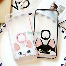 Lovely Cat Matte Anti-Drop Finger Rings Case Cover for iPhone 7 7 Plus 6 6S Plus