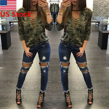 Women Camouflage Lace Up Deep V Neck T-Shirt Casual Long Sleeve Top Blouse Tee